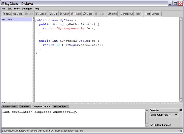 Unit Testing with JUnit in DrJava