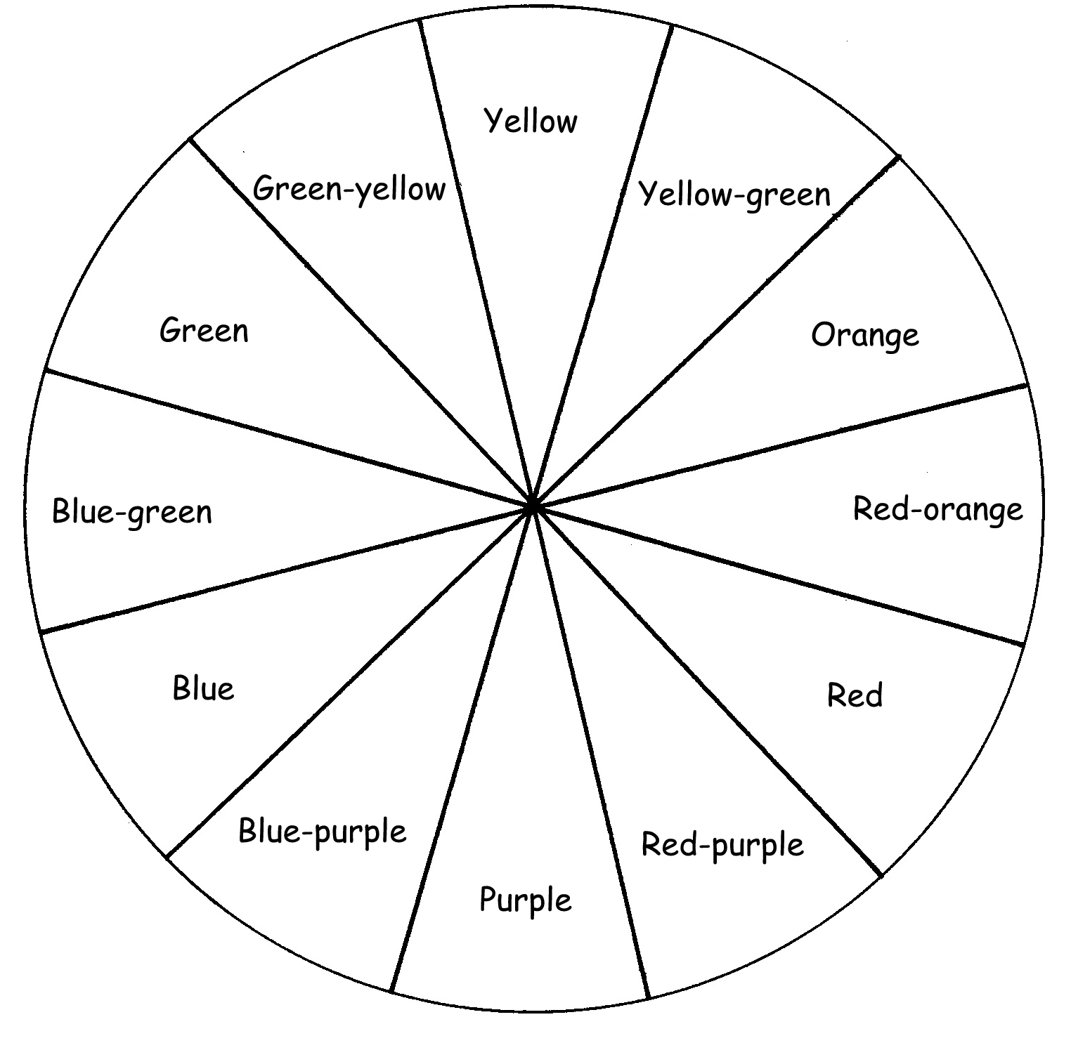 Using colour to creat an artwork – Color Wheel Worksheet