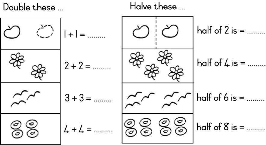 Number Names Worksheets u00bb Doubles And Halves Worksheets ...