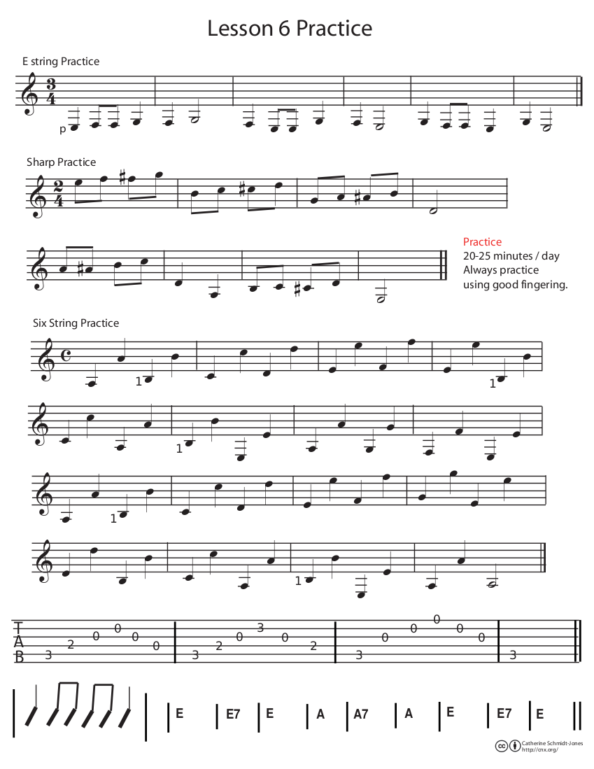 Guitar Lesson 6 The Low E String Sharps And Left Hand Notation