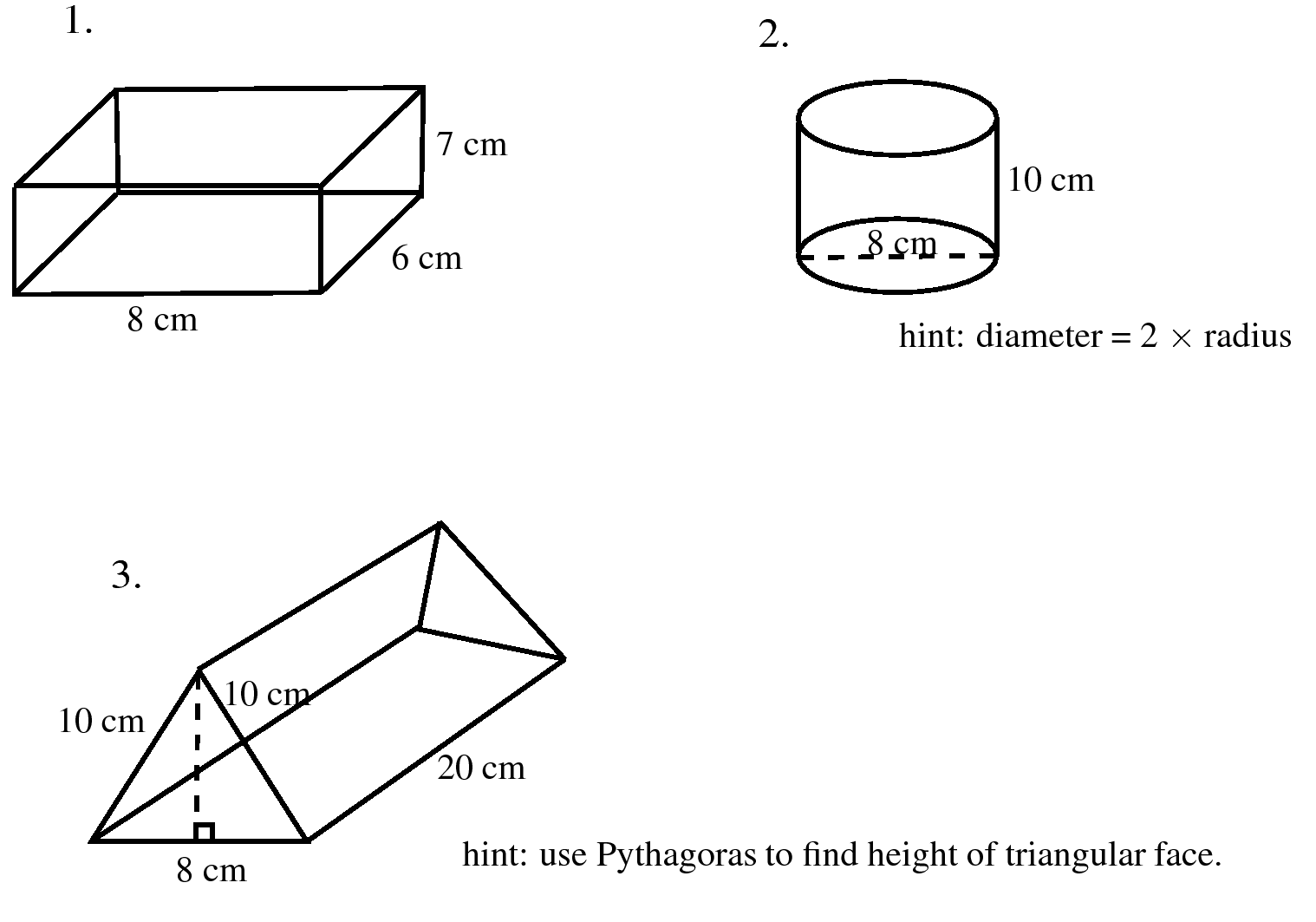 Calculate The Surface Area In Each Of The Following: