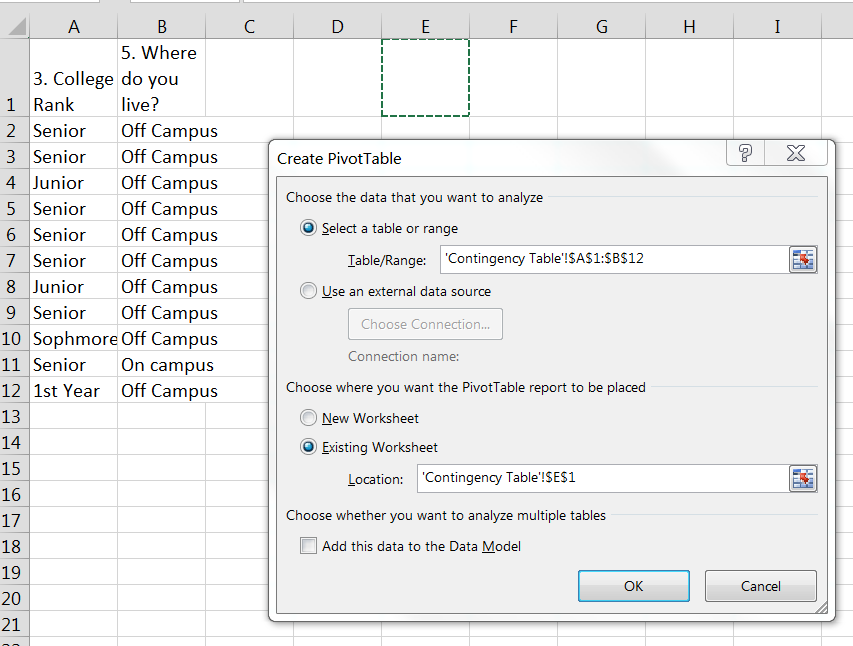 Worksheets Bivariate Data Worksheets bivariate descriptive statistics unsing spreadsheets to view and i have two columns of data in a new worksheet labeled when mouse over the ok button click pivottable fields will appe
