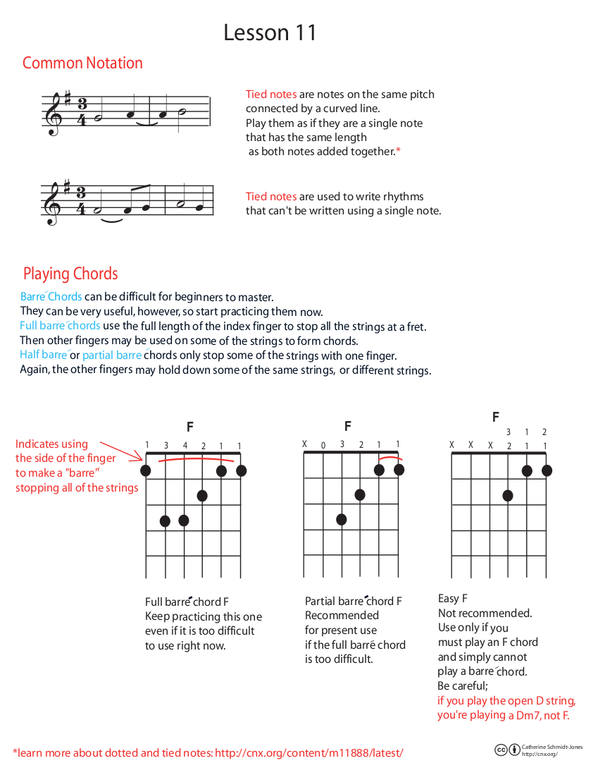 Guitar lesson 11 tied notes and barre chords practice page and the ensemble page one of the songs for this lesson is on song sheet 5 along with the guitar lesson 10 songs the other is on song hexwebz Images