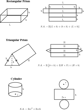 Geometry: Right prisms and cylinders (Grade 10) [NCS]