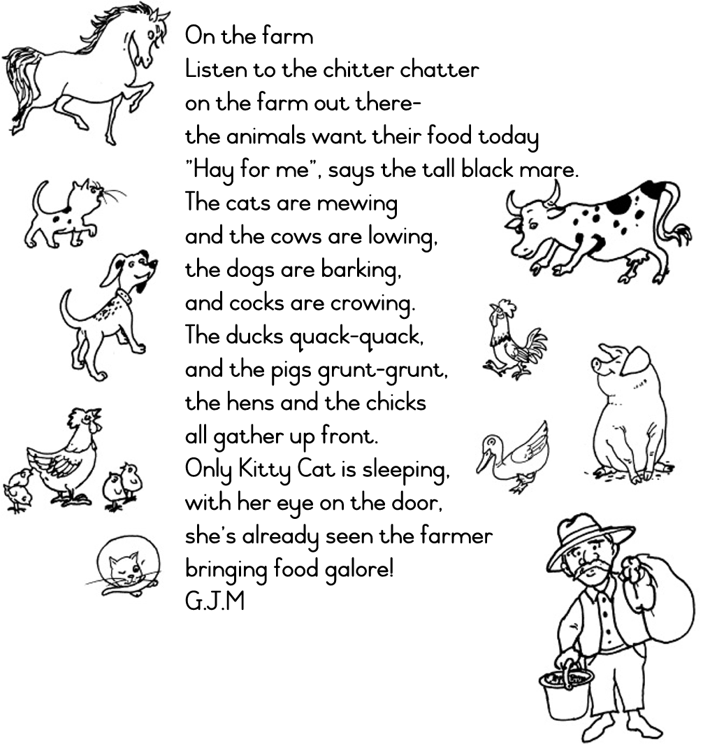 Worksheet Rhyming Words For Animals farmyard friends 01 content