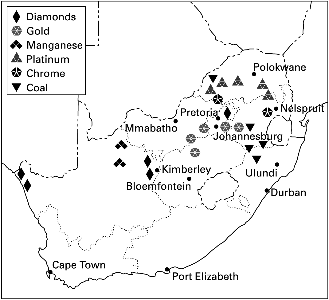 Gold In South Africa Map.Map Of Mines In South Africa Jackenjuul