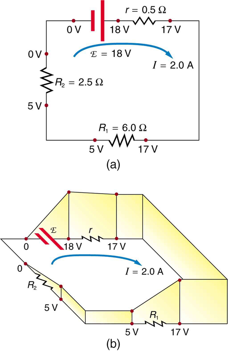 Kirchhoffs Rules 5 Volt Circuit Diagram Part A Shows Schematic Of Simple That Has Voltage Source In Series